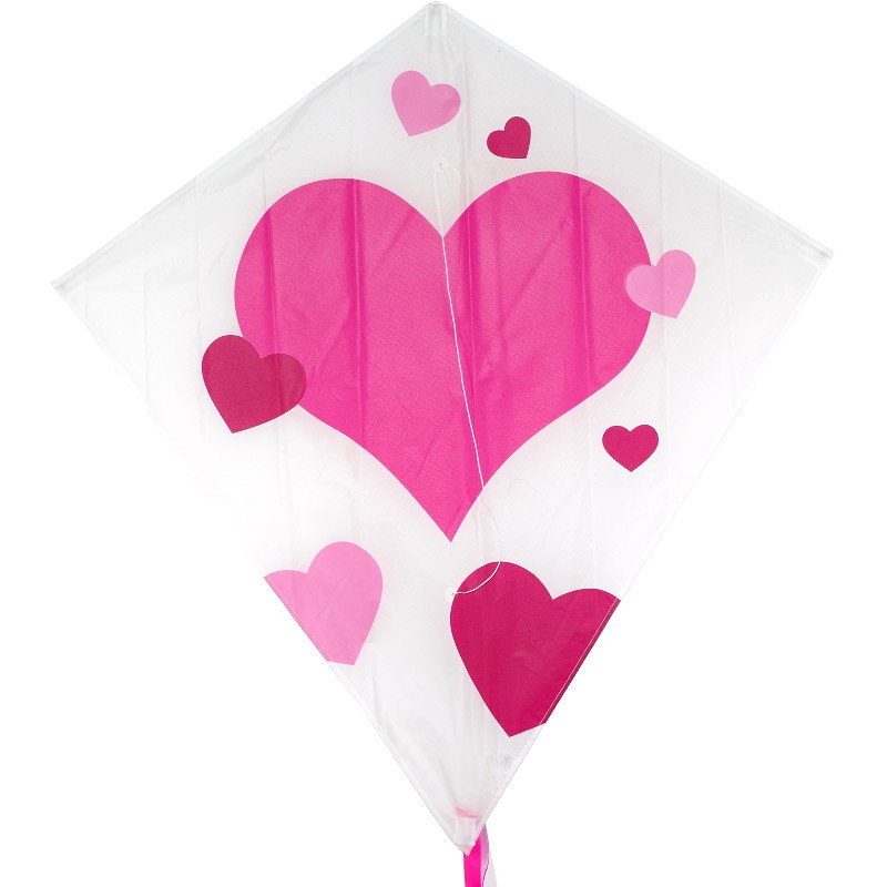Cerf-volant monofil Colours in Motion Eddy XL Hearts coeurs